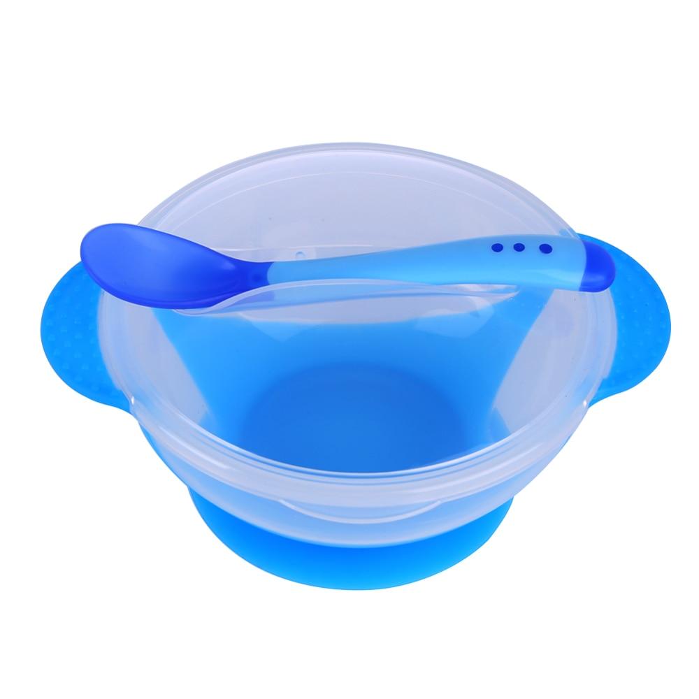 Креативная обучающая посуда для кормления ребенка, детская миска, миска для защиты от разлива, детская посуда для кормления, детская посуда для еды, Гироскопическая чаша для кормления - Цвет: F bowl Spoon cover