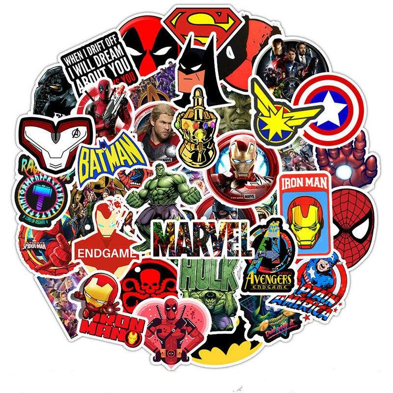 50Pcs Marvel The Avengers Cartoon Stickers Waterproof For Laptop Moto Skateboard Luggage Guitar Furnitur Sticker