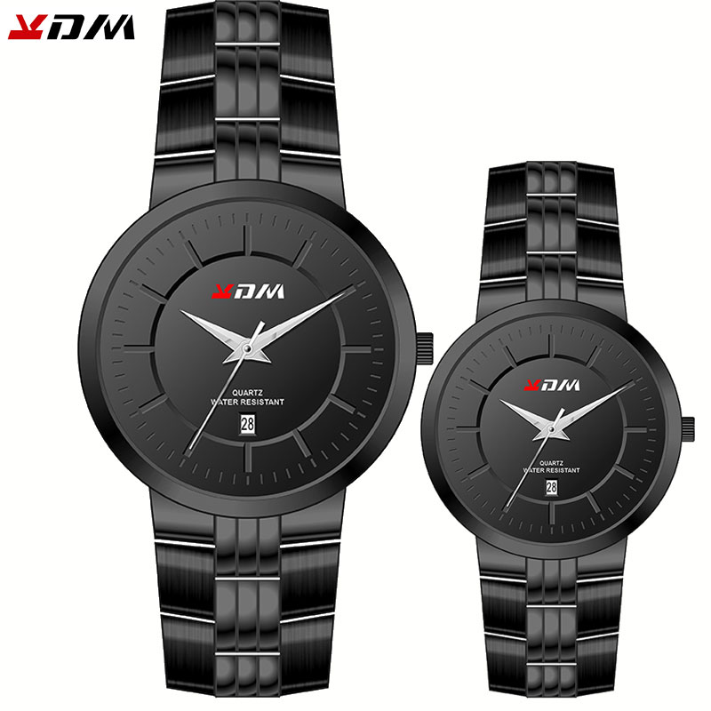 KDM Couples Watch Luxury Brand  Full Stainless Steel Quartz Calendar Casual Wristwatches For Men Simple Fashion Lady Clock
