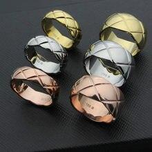 Venda quente de corte de grão cor de ouro rosa/cor de ouro/prata cor anéis de aço inoxidável