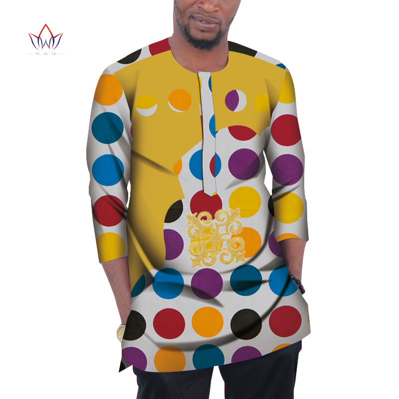 Fashion Men African Clothing Dashiki Men Top Shirt Bazin Riche African Men Clothes Cotton Print Patchwork Top Shirt WYN977