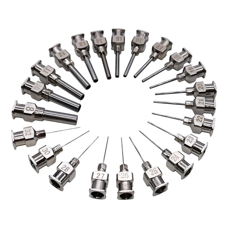 12pcs 12pk 1/2(0.5) Inch 8g To 30g Stainless-Steel Syringe Dispenser Dispensing Glue Needles Blunt Metal