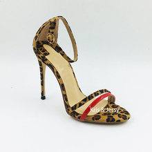 Women Sandals Shoes Ankle-Strap Suede High-Heels Leopard Elegant Big-Size Patent Thin