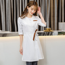 Korean style fashion cosmetologist clothing middle sleeve women's white beauty salon clothing four seasons drugstore uniform