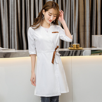 Korean style fashion cosmetologist clothing middle sleeve womens white beauty salon four seasons drugstore uniform