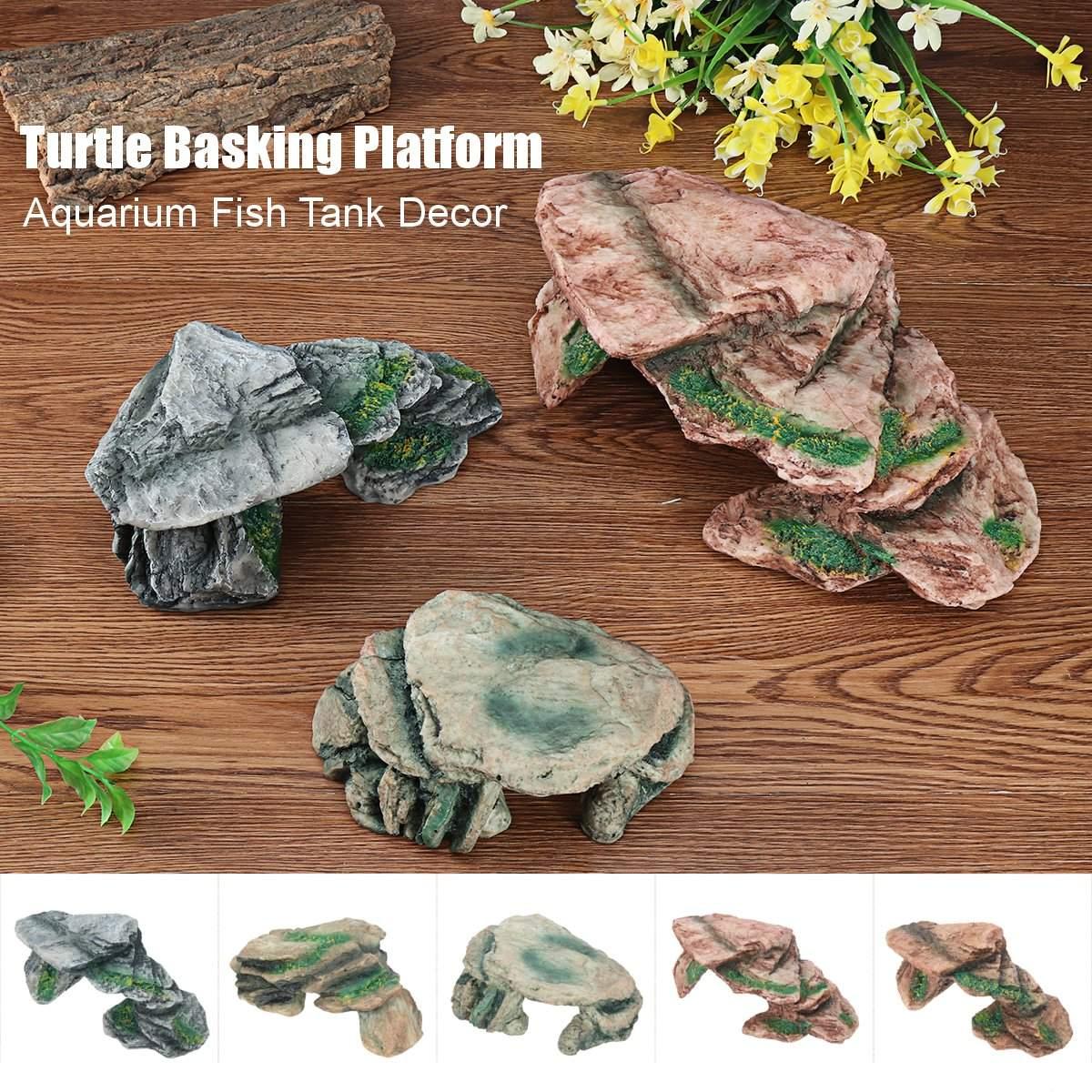 Resin Turtle Basking Platform Aquarium Fish Tank Tortoise Ramp Island Mountain Ornaments Reptiles Habitat Decoration 6 Patterns