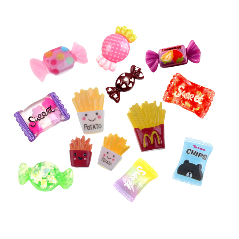 50Pcs Resin Candy French Fries Decoration Crafts Flatback Cabochon Embellishments For Scrapbooking Kawaii DIY Accessories