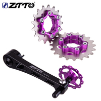 ZTTO MTB Bicycle Single Speed Cassette Cog and Derailleur Bicycle Chain Tensioner Group Set 1Speed Bike Sprocket Freewheel Gear
