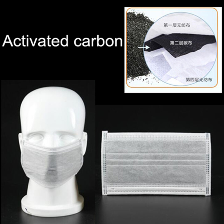 50pcs High Quality 4 Layers Activated Bamboo Carbon Prevent Anti S Formaldehyde Bad Smell Bacteria Proof Face Mouth Mask