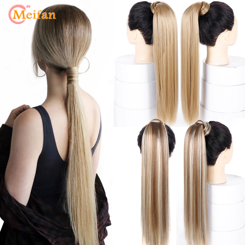 MEIFAN Long Straight Natural Fake Ponytail Clip On Hair Tail Heat Resistant Synthetic Borwn Hair Wigs For Women Cosplay Party