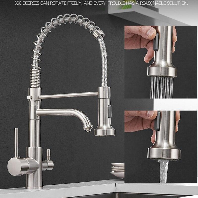 Vidric cuisine filtrée robinet robinet d'eau en laiton purificateur robinet double pulvérisateur eau potable robinet navire évier mitigeur Torneira - 4