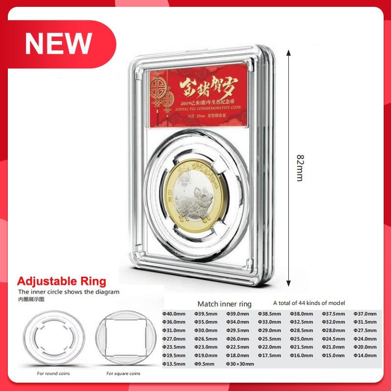 Novo!!!! Vi caso de moeda de identificação classificada exibição de moeda laje/lajes armazenamento limpar moeda snabs/lajes cor clara 10 pçs/lote