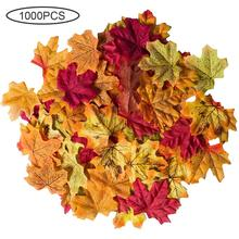 100/1000pcs Artificial Maple Leaves Simulation Decorative Silk Fake Fall For Home Wedding Party Decor Mixed