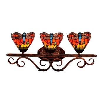 Европейское винтажное стекло Тиффани настенная лампа для зеркала для ванной Бар Декор алтаря Ретро красочная Стрекоза 3 головки крыльцо св