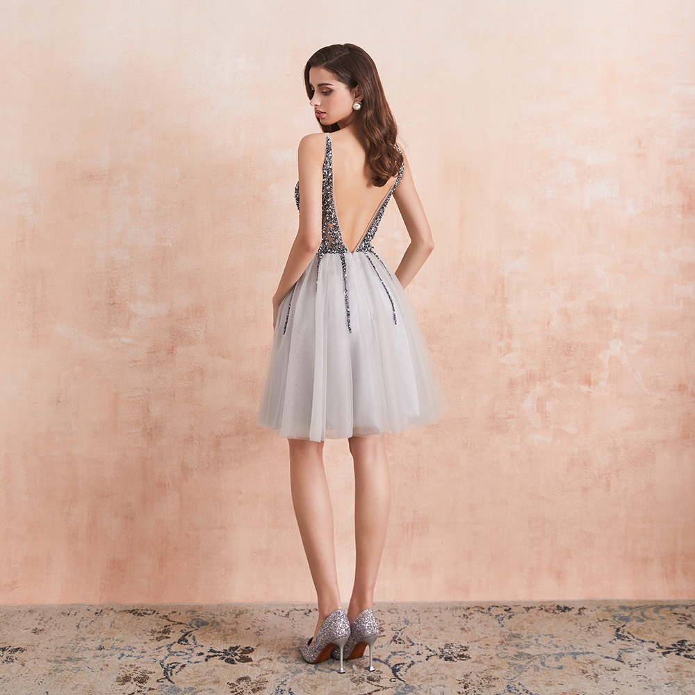 Hot DealsDress Cocktail-Dresses Prom-Gown Sparkle Gray Mini Homecoming Short Crystal V-Neck Sexy