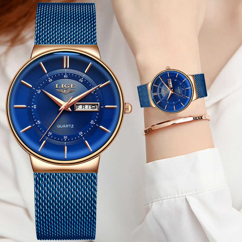 Lige relógios femininos marca de luxo ultra-fino calendário semana relógio de quartzo senhoras malha aço inoxidável à prova dwaterproof água presente reloj muje + caixa