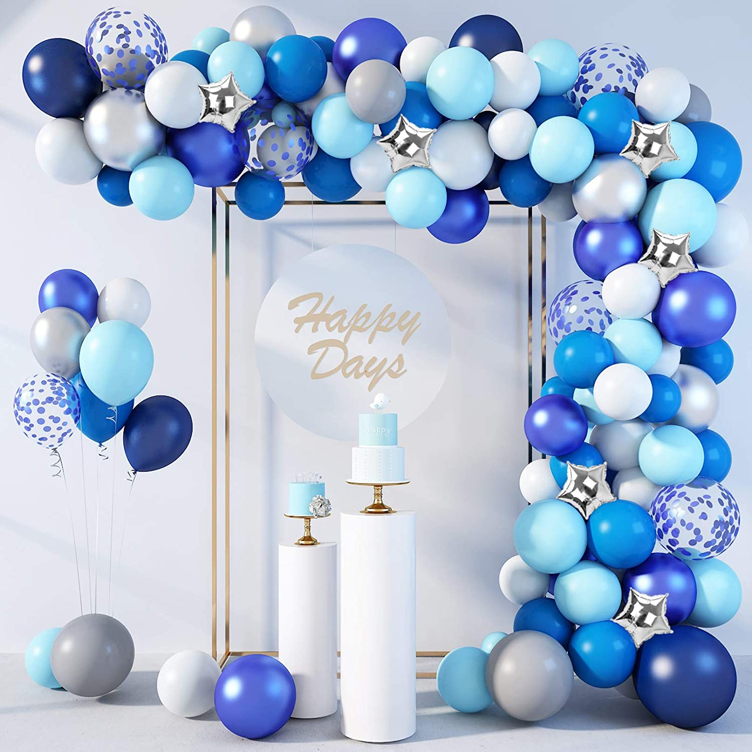 154 Pcs Blue Balloons Garland Arch Kit Navy Blue Confetti Star Silver Metallic Balloons for Birthday Baby Shower Wedding Party