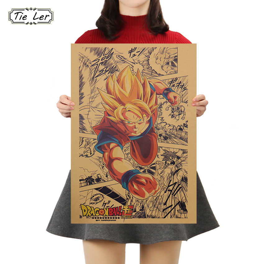 KRAWATTE LER Cartoon Dragon Ball Poster Cafe Bars Küche Decor Poster Schmuck Vintage Poster Retro Wand Aufkleber 50,5 x35cm