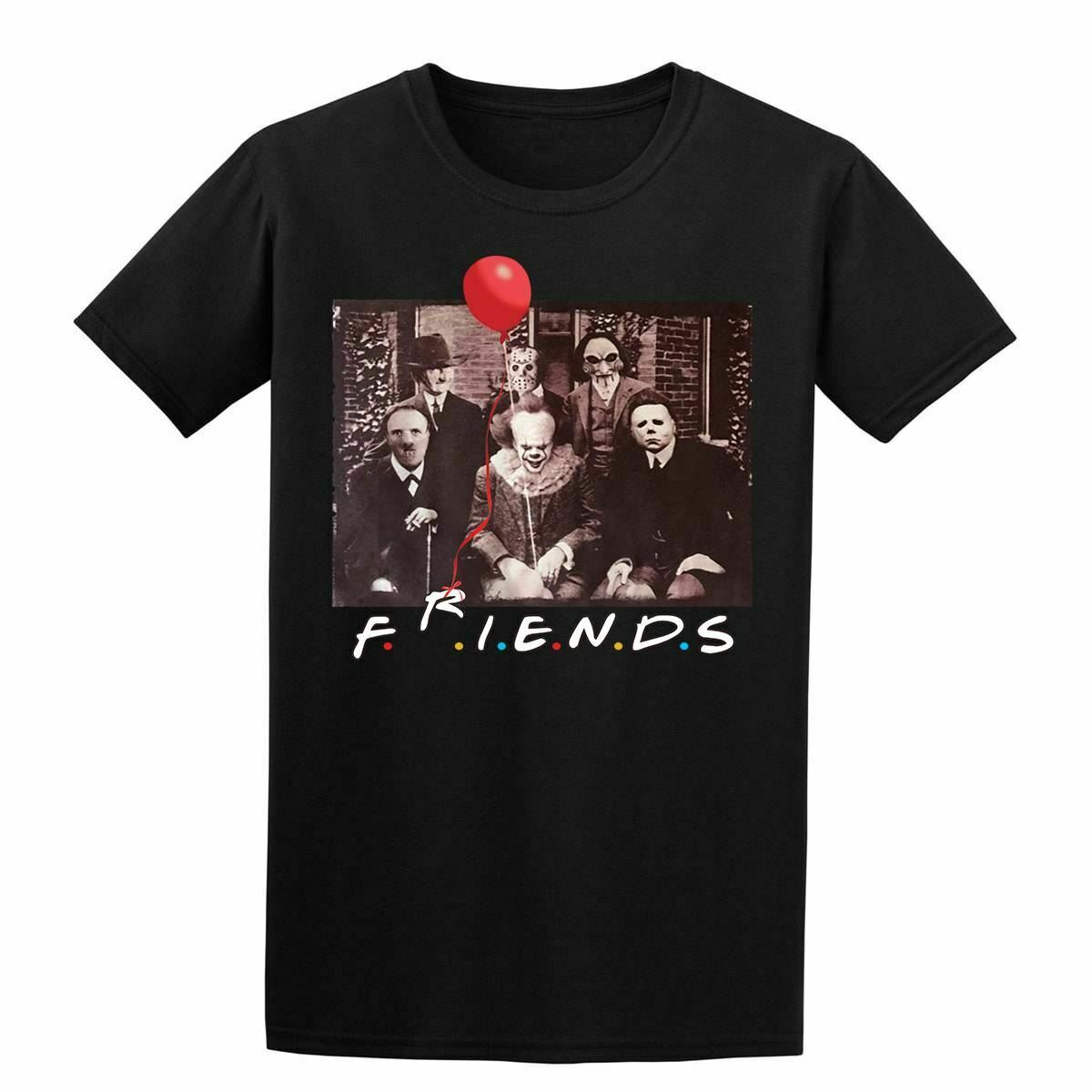 Horror Friends T Shirt Halloween <font><b>Pennywise</b></font> Jigsaw Film Movie Scary Men T Shirt Men Women Unisex Fashion <font><b>tshirt</b></font> Free Shipping image