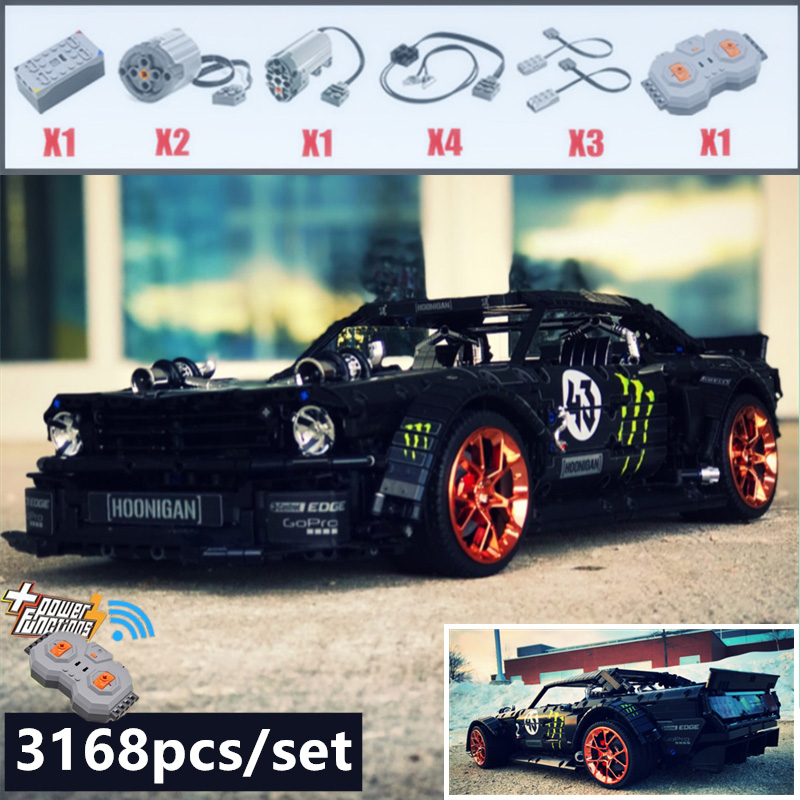 2019 New 1965 Ford Mustang Hoonicorn Racing Car fit Technic MOC 22970 FIT 20102 building block