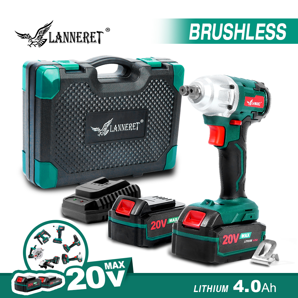 LANNERET Brushless Cordless Impact Wrench 20V Brushed Electric Wrench LED Light 2 Speed Mode