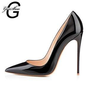Image 2 - GENSHUO zapatos de tacón alto de charol para mujer, calzado Sexy con punta puntiaguda, 11 12 talla grande, color negro