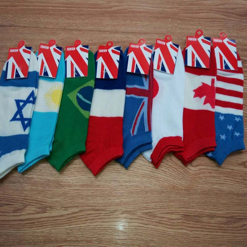 1 Pair Casual Cotton Printing Short Sock Fashion Flag Pattern Men Socks Breathable Absorb Sweat Hosiery Wholesale Dropshipping