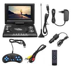 7.8 Inch TV Home Car DVD Player Portable HD VCD CD MP3 HD DVD Player USB SD Cards RCA Portable Cable Game 16:9 Rotate LCD Screen