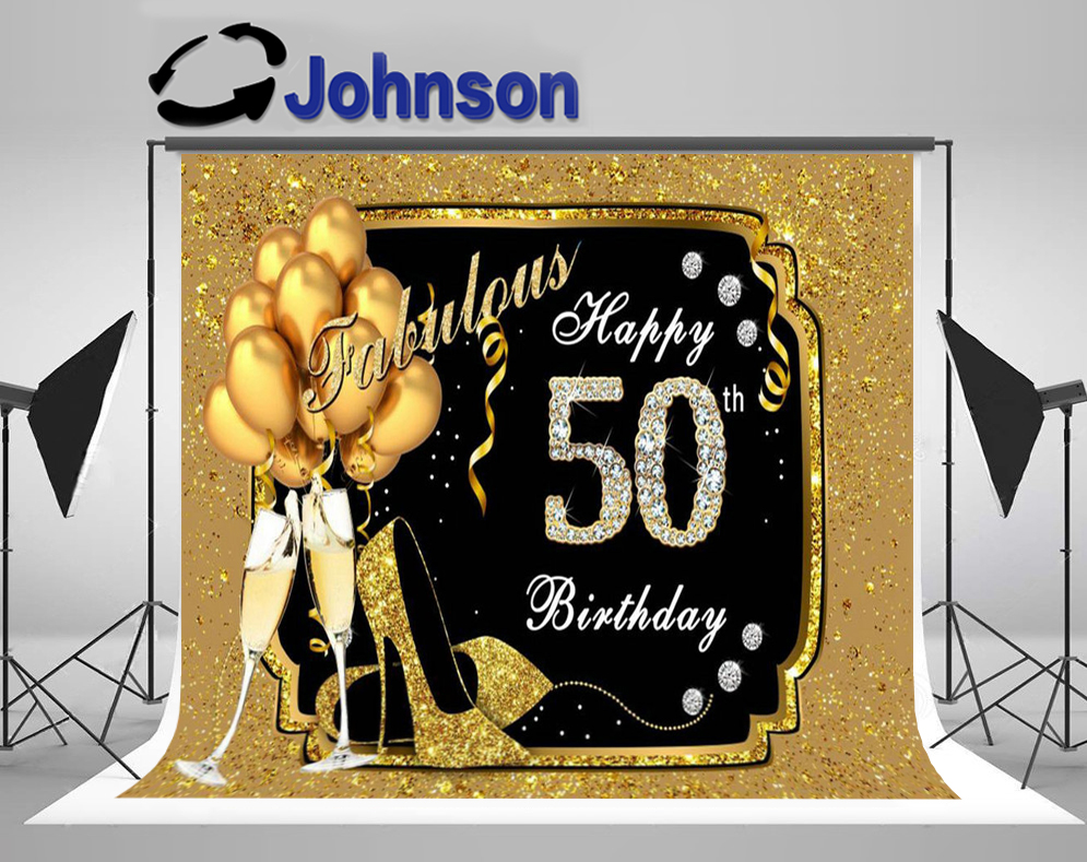 Discount Fabulous Women Gold Balloon <font><b>Happy</b></font> <font><b>50th</b></font> 30 40 60 <font><b>Birthday</b></font> photo <font><b>backdrop</b></font> Computer print party background image