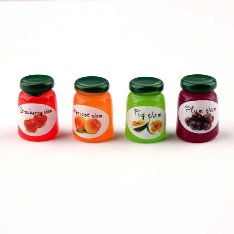 5pcs Dollhouse Jam Fruit Can Miniature Toy Doll Food Kitchen Living Room Accessories Kids Gift Pretend Play Toy