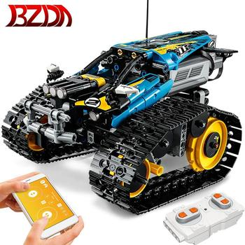 BZDA Creative rc car track Building Block APP Remote Control Racing  Car Series Tracking Electric Vehicle DIY toy for children creative diy assembled building block remote control toys rc military car model toy with remote control for kids
