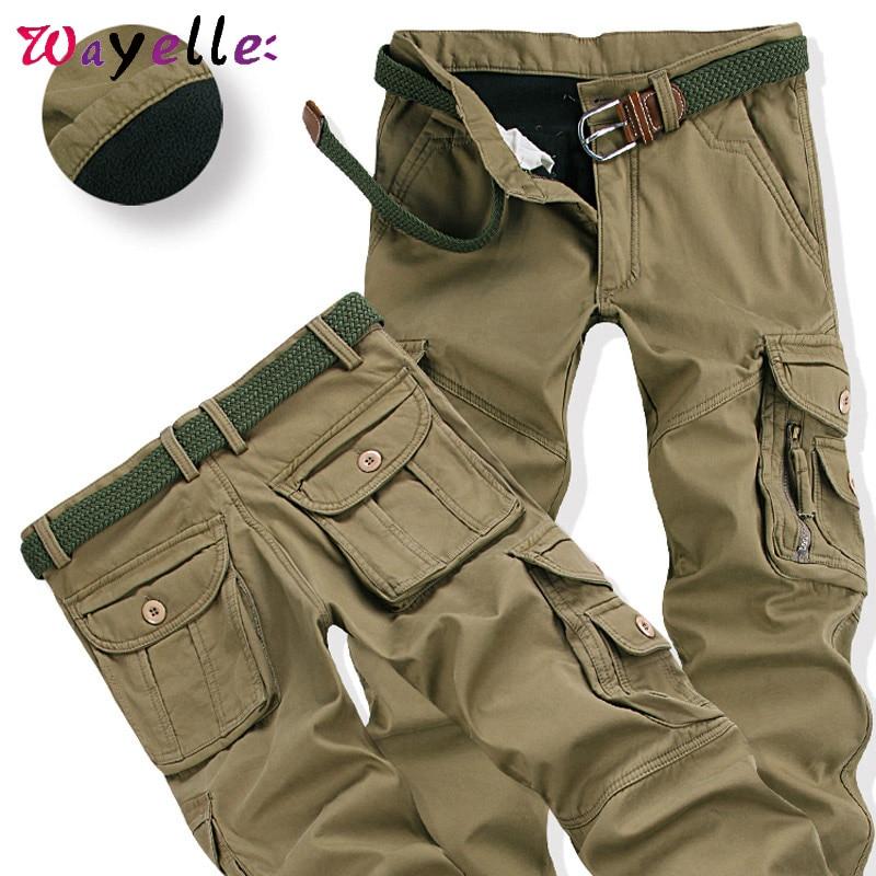 Mens Winter Pants Thick Warm Khaki Pants Streetwear Fleece Pockets Fur Trouser Plus Size 38 40 Safari Style Baggy Mens Jogger