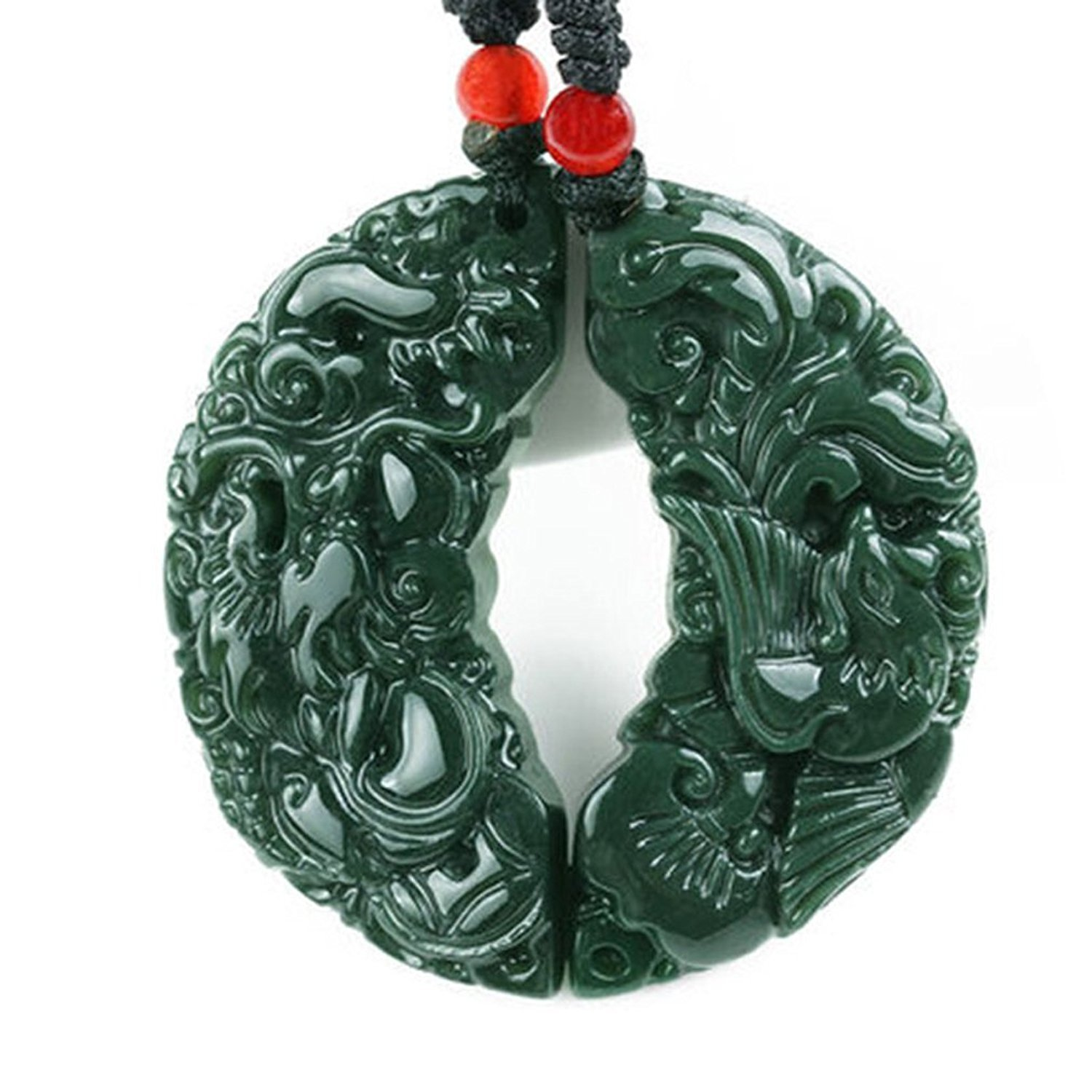Koraba Natural Green Jade Hand Carved Couple Dragon Phoenix Pendant Necklace  Gemstone Necklace  Women Mens Jewelry Gift