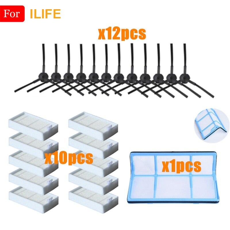 Filtre à poussière primaire brosse latérale filtre Hepa efficace pour ILIFE V5 V5s V3 V3s V5pro V50 V55 X5 V5s Pro pièces d'aspirateur Robot