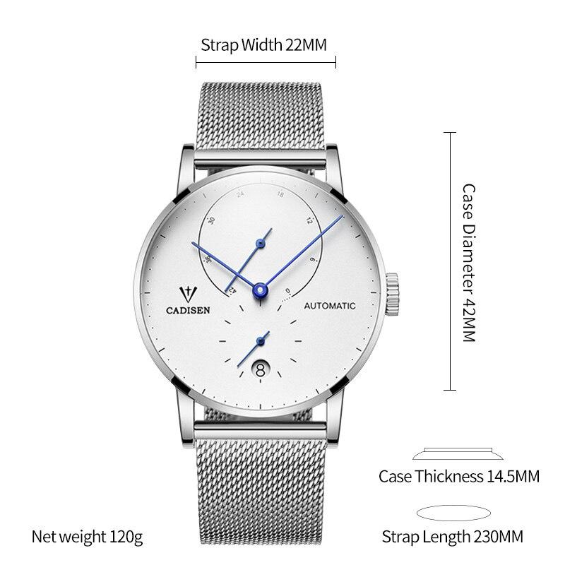 Image 2 - CADISEN Automatic Mechanical Seagulls Mens watches Top Brand  Luxury Fashion Sport Wristwatch Men Waterproof Energy Storage  ClockMechanical Watches