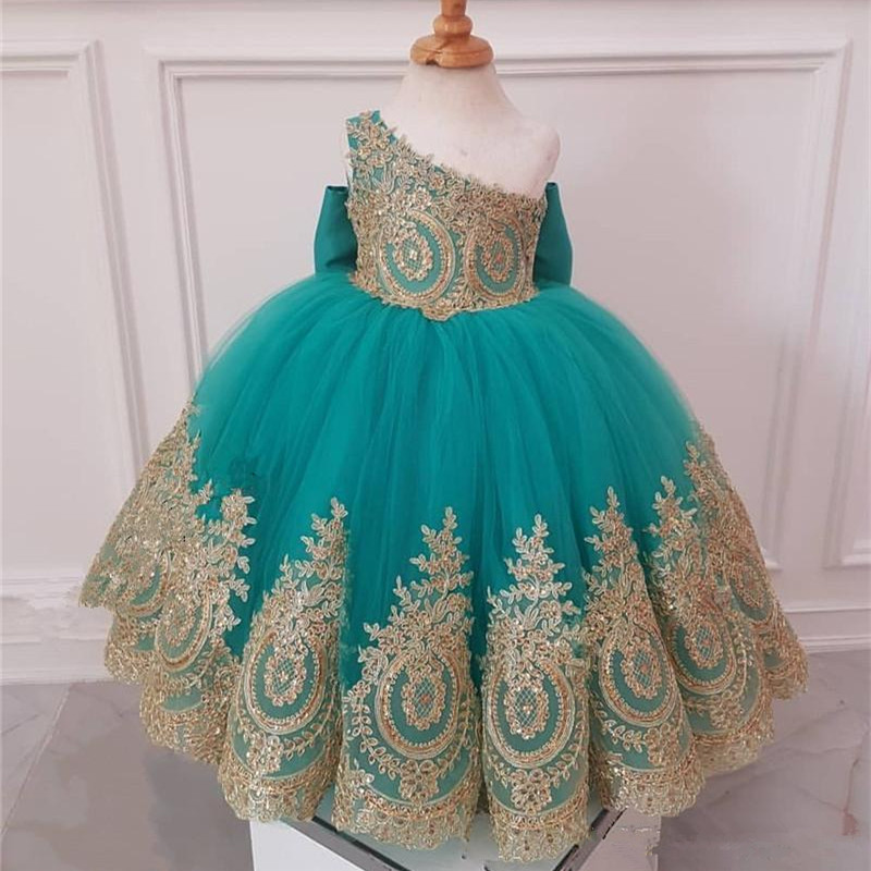 One Shoulder Flower Girl Dresses With Gold Lace African Girls Pageant Dresses Knot Bow Long Tulle Girls Birthday Party Gowns
