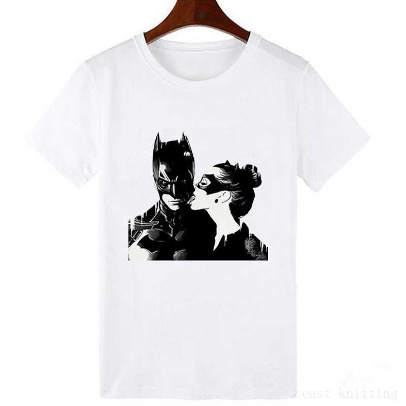 Batman i Catwoman pocałunek koszulka moda fajna koszulka Tees nowa moda lato kobiet topy T Shirt kobiet