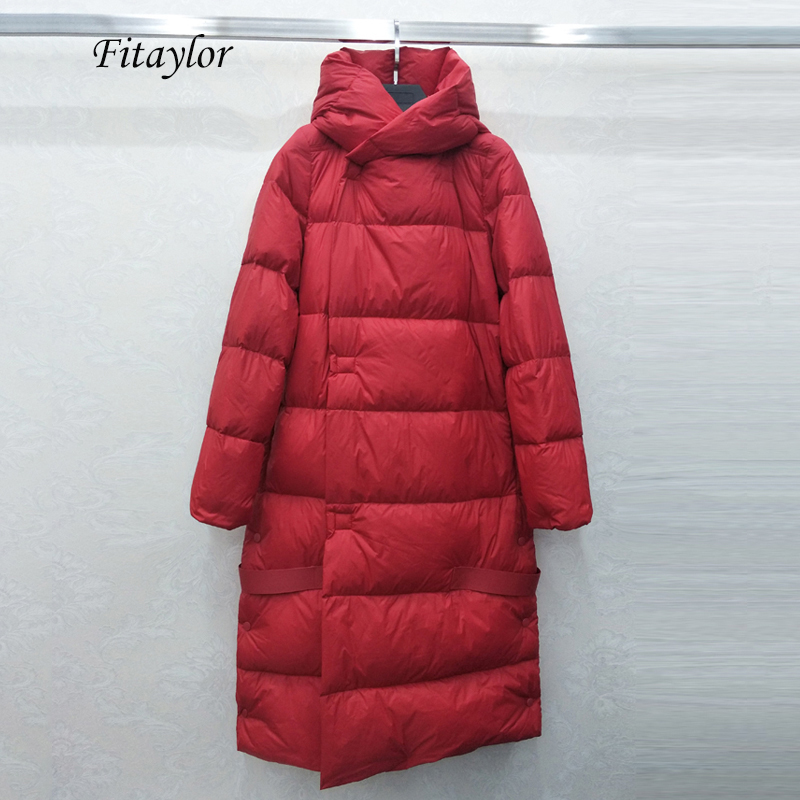 Fitaylor Winter Ultra Light Long Down Jacket Women 90% White Duck Down Parka Warm Hooded Bread Overcoat Female Loose Outwear