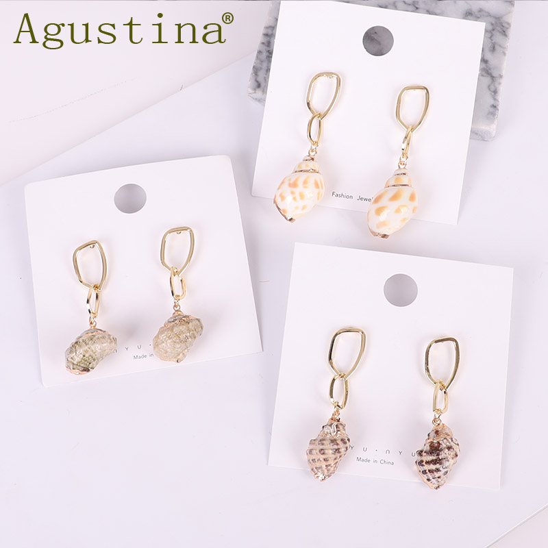 ZA 2019 New Hot Natural Sea Shell Drop Dangle Earring for Women Trendy Metal Geometric Statement Beach Party Jewelry Punk gift