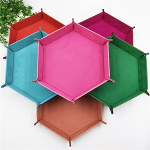 23cm Hexagon PU Leather Velvet Cloth Tray Foldable Dice Trays Table Games Desktop Storage Box Home Decoration Tray 10 Colours(China)