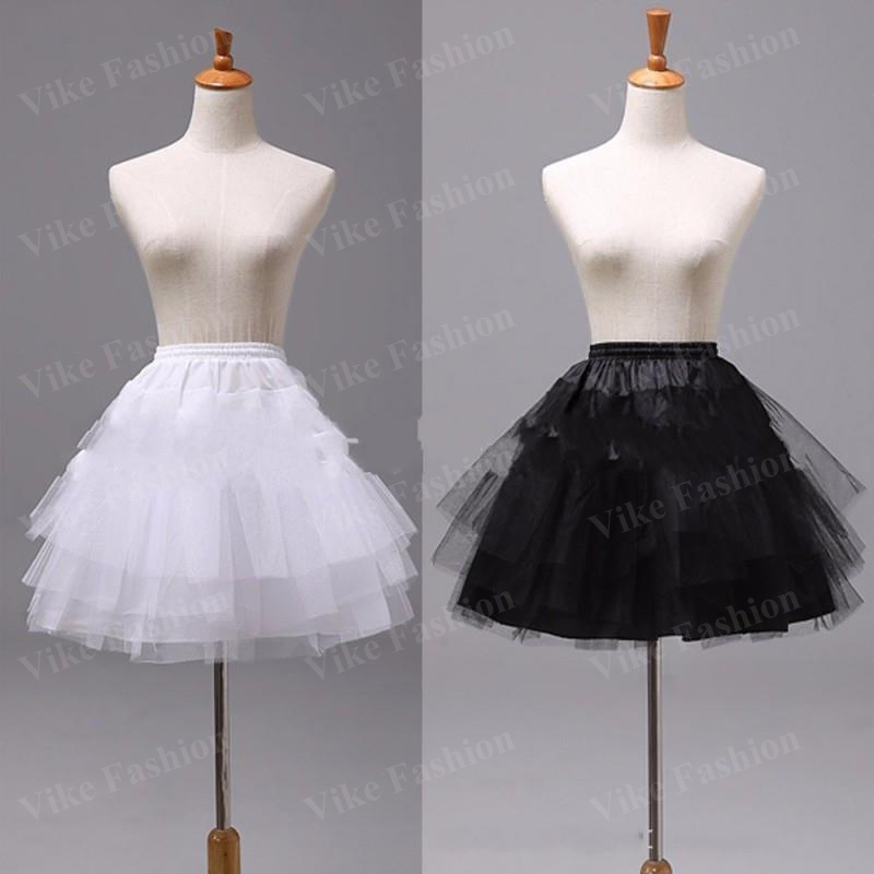3-Layers Underskirt Petticoats Short Wedding-Dress A-Line White Black Women for Jupon