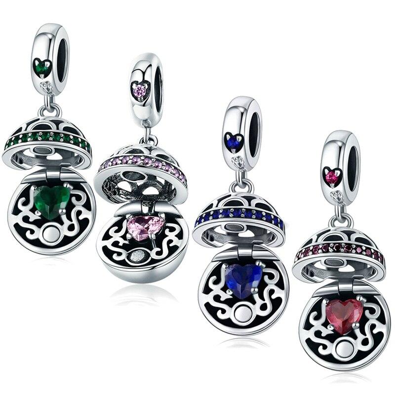 Mybeboa 100% 925 prata esterlina amor caixa de presente balançar bola charme 4 cores cz encantos caber pulseira pandora originais contas jóias