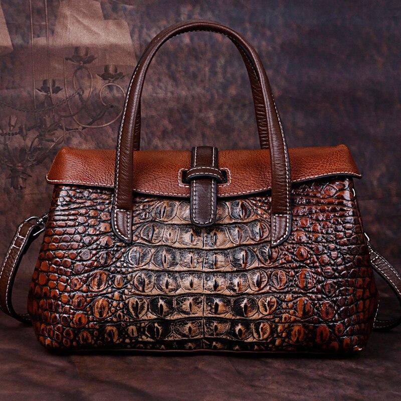 Retro Women Messenger Shoulder Cross Body Bags Female Tote Bag Cowhide Crocodile Pattern High Quality Genuine Leather Handbag