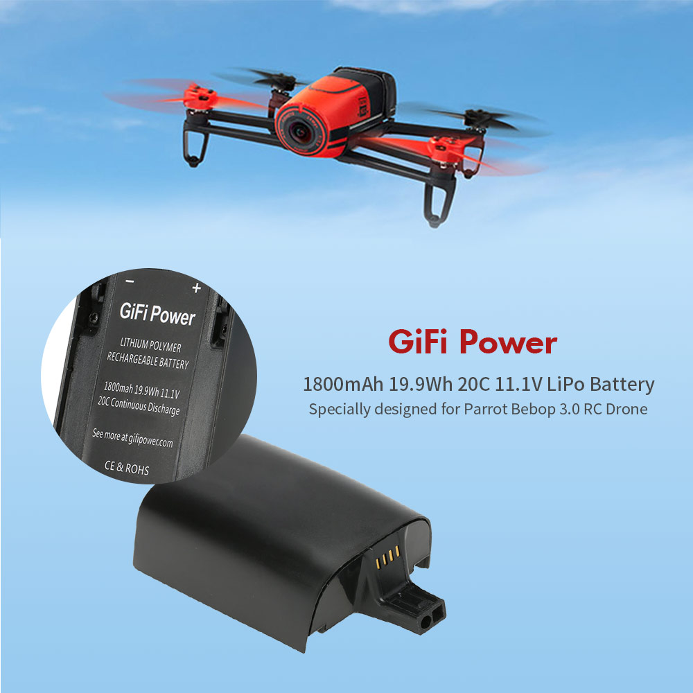 <font><b>3S</b></font> 20C RC Rechargeable <font><b>LiPo</b></font> battery GiFi Power <font><b>1800mAh</b></font> 19.9Wh 20C 11.1V <font><b>LiPo</b></font> Battery for Parrot Bebop 3.0 RC Drone image