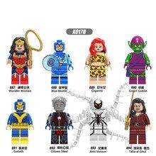 X0170 Single Sale Building Blocks Super Heroes Blue Beetle Green Goblin Wonder Woman Talia al Ghul Anti-Venom Toys for children стоимость