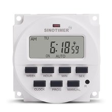 цена на SINOTIMER 24V/110V/220V 7Day Weekly Programmable Digital Time Switch Relay Timer Control for Electric Appliance 8 ON/OFF Setting