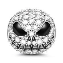 Jack crânio banhado a prata grânulos charme para o dia das bruxas com zircão cúbico pulseiras bangle pesadelo antes do natal jóias góticas