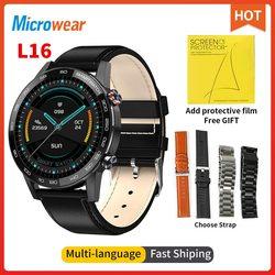 2021 Новый Microwear L16 Смарт-часы ЭКГ кровяное давление кислорода/Давление 360 * 360IPS IP68 Водонепроницаемый фитнес-браслет против L13 L15 Смарт-часы