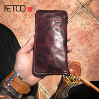 AETOO Leather wallet men's leather long wallet zipper wallet American retro fold vertical wallet anti lost chain hand bag