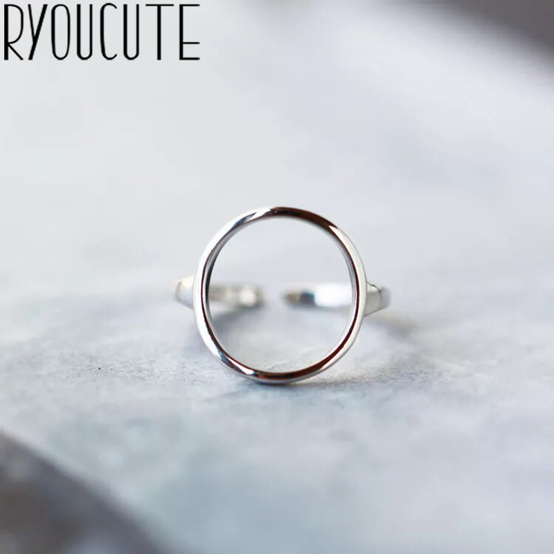 Bohemian Vintage Silver Color Circle Rings for Women Female Engagement Rings Vintage Boho Jewelry Christmas Gifts 1